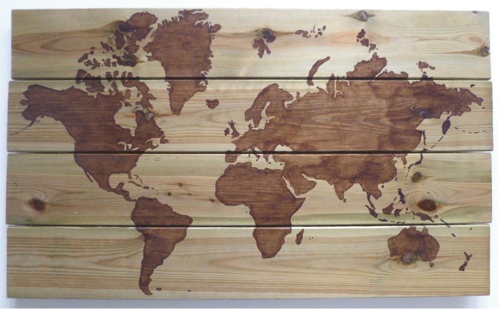 Houten wereldkaart beits op hout portfolio