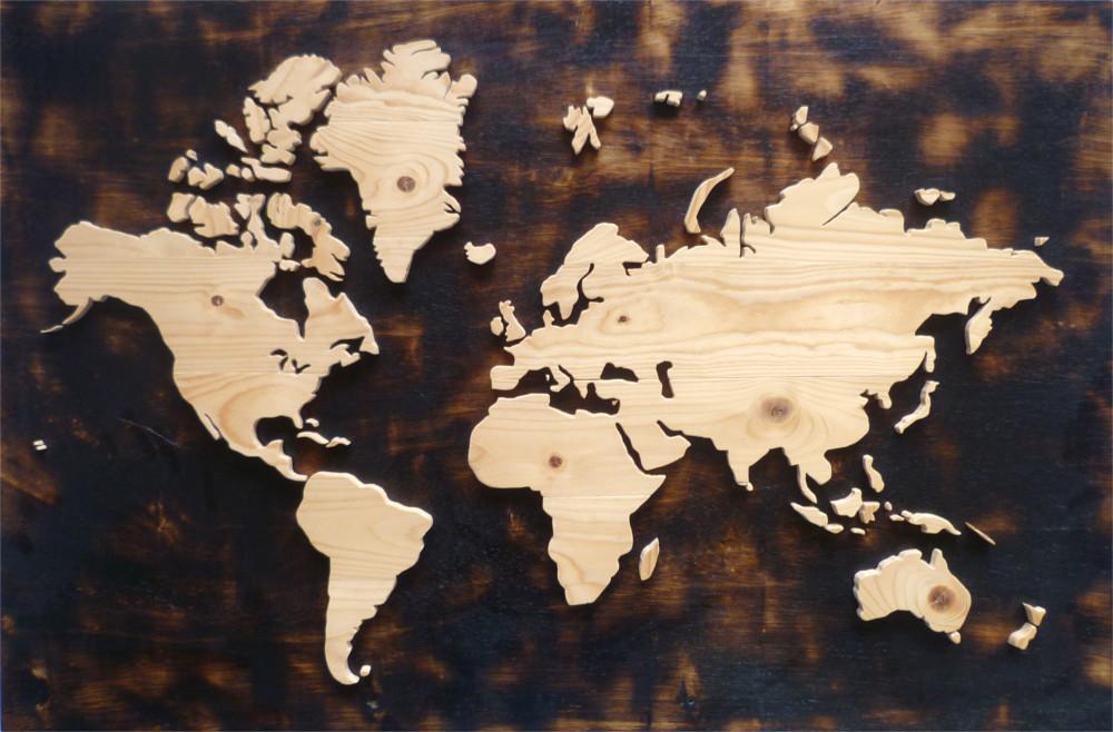 Houten wereldkaart figuurzaag gasbrander van hout portfolio