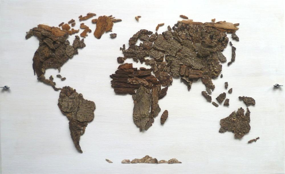 Houten wereldkaart boomschors van hout portfolio