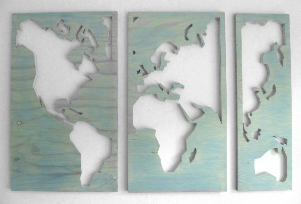 Houten wereldkaart drieluik van hout portfolio
