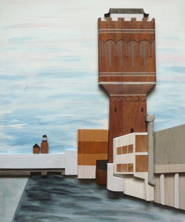 3D panel wood wooden painting water tower city scape Utrecht watertoren Rotsoord