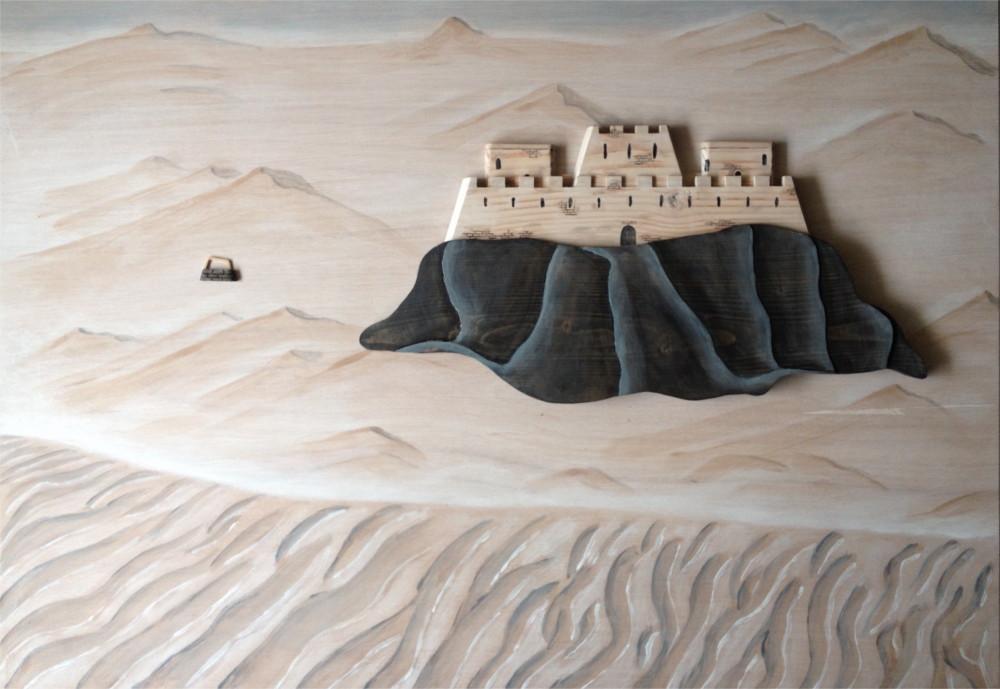 3D panel wood wooden painting desert fortress portfolio