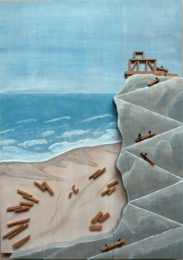 3D panel wood wooden painting rock beach