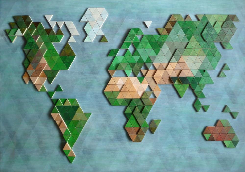 Wooden world map wood triangles portfolio