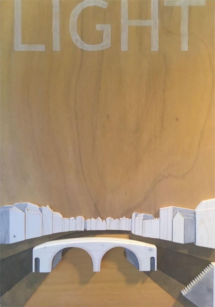 3D panel wood wooden stadsgezicht Utrecht