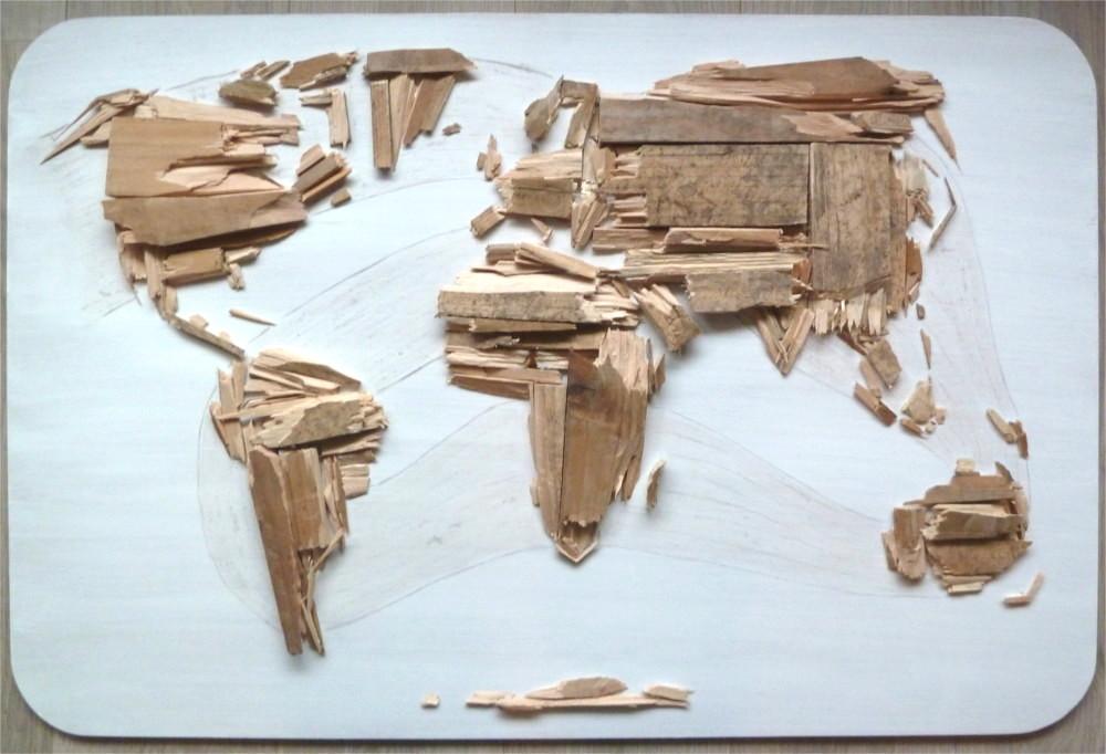Houten wereldkaart pallethout portfolio