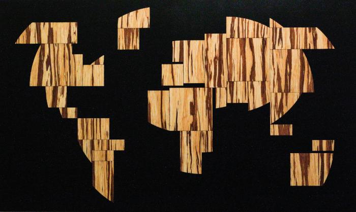 Wooden world map bamboo circle cut wood