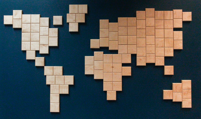 Wooden world map maple ten square wood