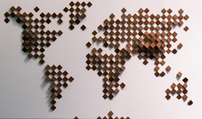 Wooden world map oak pixels wood