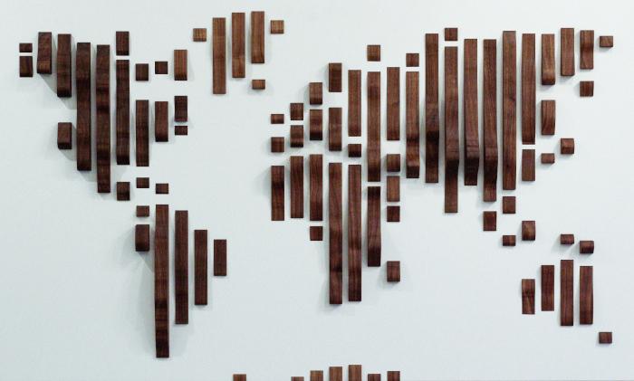 Wooden world map walnut waves wood