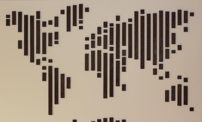 Wooden world map wenge verticals wood