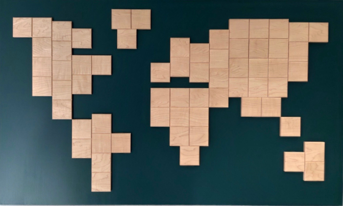 Wooden world map maple eight square wood